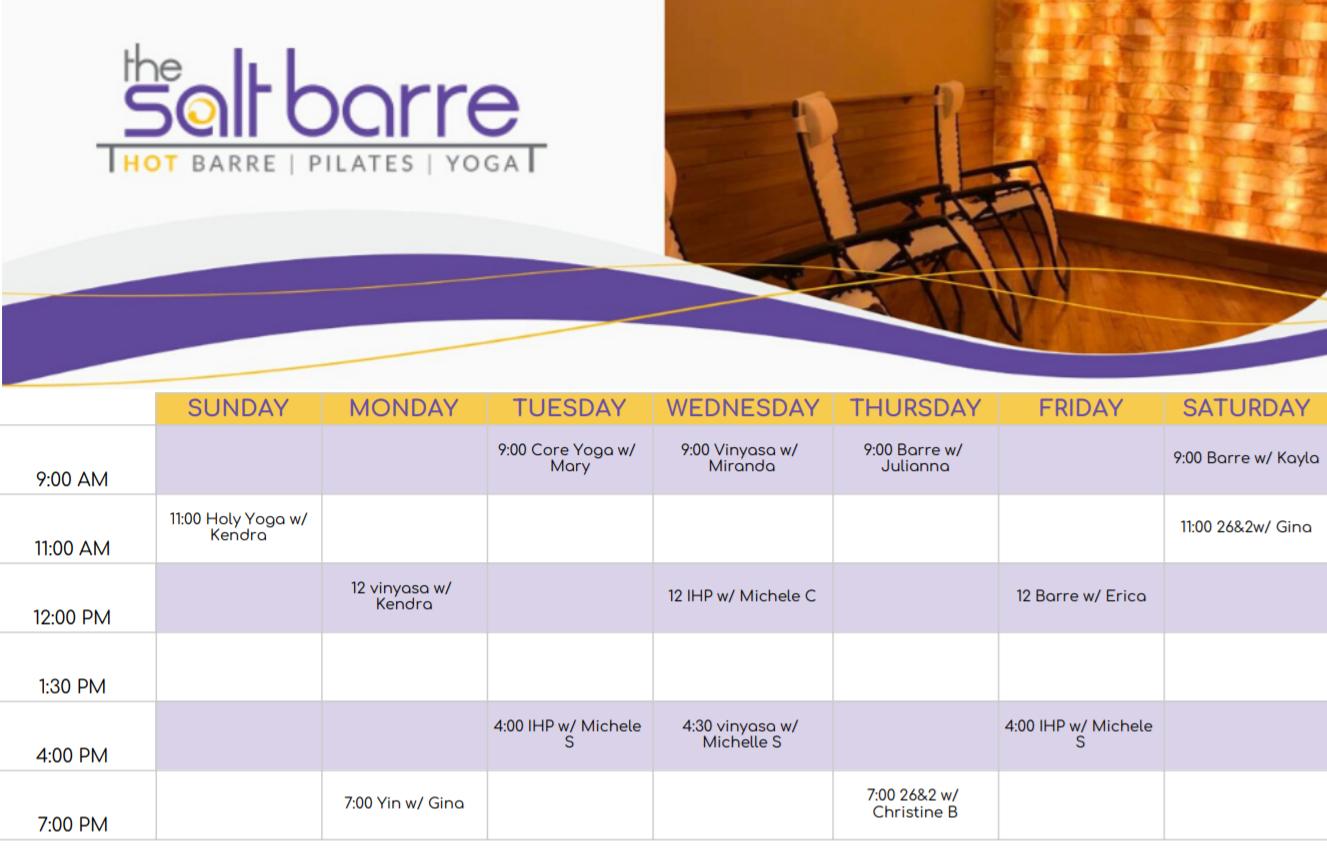Salt Barre Online Schedule