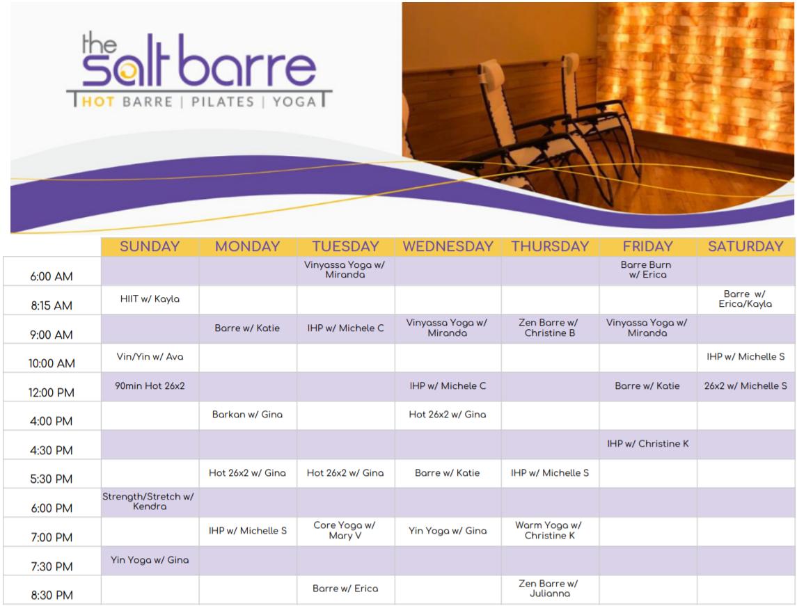 Salt Barre Fall Schedule